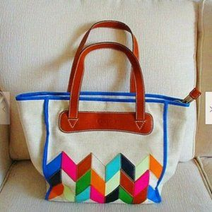 FOSSIL Shopper Tote Bag Coated Canvas & Leather